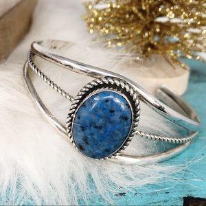 Vtg Navajo Sterling Lapis Lazuli Cuff Bracelet